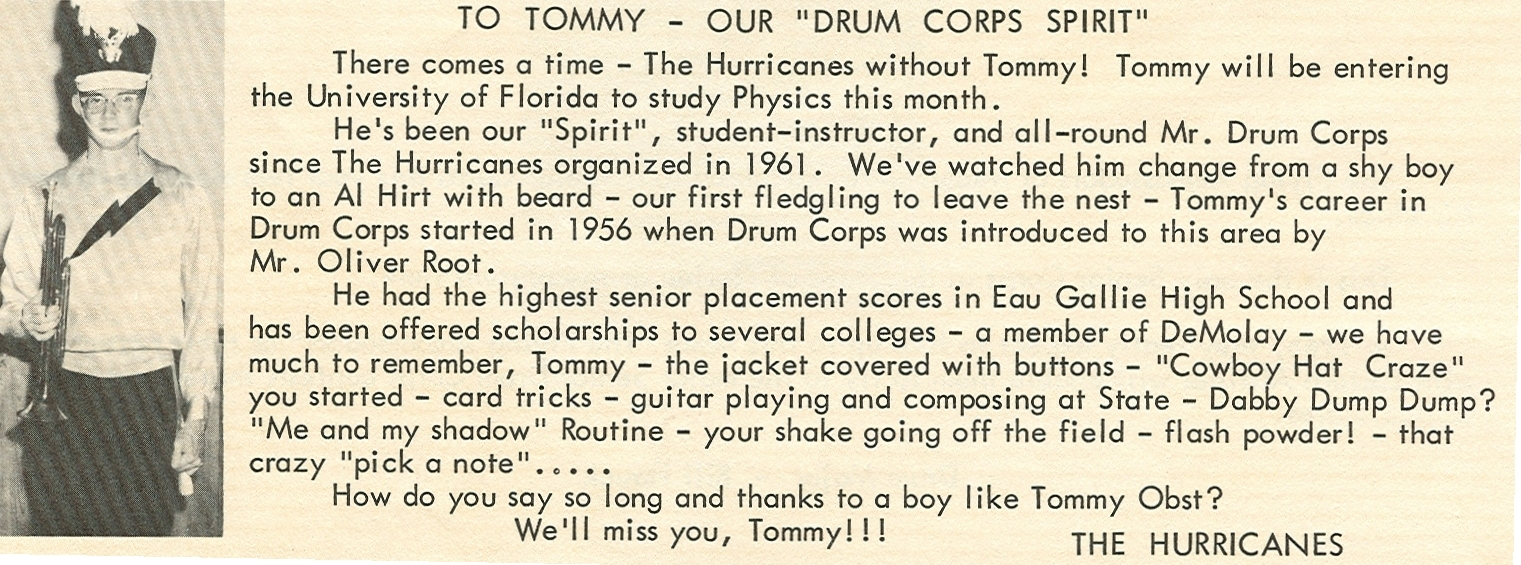 In 1956 drum corps was introduced to Brevard County by Mr. Oliver Root.